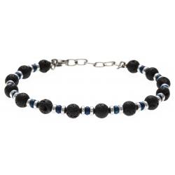 Bracelet acier 2 tons - pierre de lave - hématite - 19+4cm
