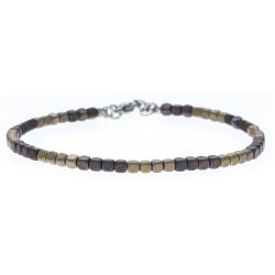 Bracelet acier - hématite noir et doré (4x4)  - 19+4cm