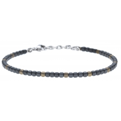 Bracelet acier - hématite noir et doré (4x1)  - 19+4cm