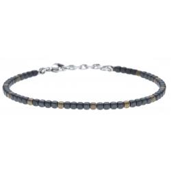 Bracelet acier - hématite noir et doré (4x1) enrobé - 19+4cm