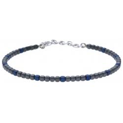 Bracelet acier - hématite noir et bleu (4x1)  - 19+4cm