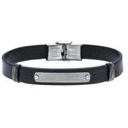 Bracelet acier - cuir italien noir - plaque vieillie -  21,5cm - réglable