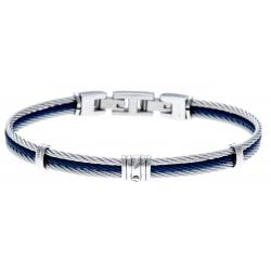Bracelet acier - 3 cables acier bleu/blanc/bleu - 19,5+1,5cm - réglable