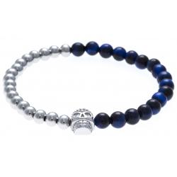 Bracelet acier pour homme - élastique - œil de tigre teinté en bleu - 21 cm