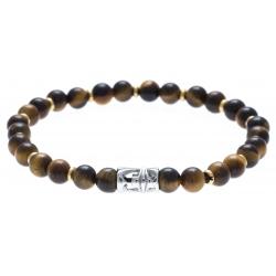Bracelet acier pour homme - élastique -  œil de tigre - 21 cm