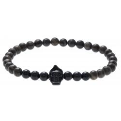 Bracelet acier pour homme - élastique - la faucheuse - marbre - onyx - 21cm