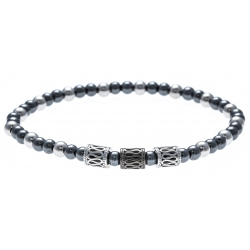 Bracelet acier pour homme - élastique - hématite - 21cm