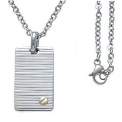 Collier acier - plaque - vis or jaune 18KT 0,02g - 45+5cm
