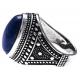 Bague argent rhodié 8,3g - lapis lazuli - T56 à 70