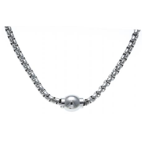 Mix&Match - collier acier adaptable avec Moitié - bracelet Mix&Match - longueur 45cm