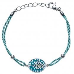Bracelet acier - nacre - émail - coton bleu - 17+3cm