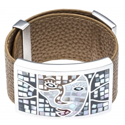 Bracelet acier - émail - nacre - cuir marron - largeur 3cm - longueur 23,5cm