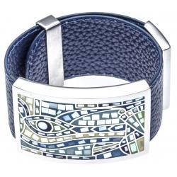 Bracelet acier - émail - nacre - cuir bleu - largeur 3cm - longueur 23,5cm