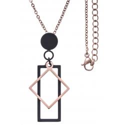Collier acier 2 tons - rosé et noir - rectangle et losange - chaîne rosée - 45+5cm