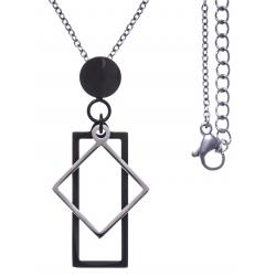 Collier acier 2 tons - acier et noir - rectangle et losange - 45+5cm