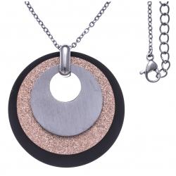 Collier acier 3 tons - acier,  rose satiné et noir - 3 ronds - diamètre 3,5cm - 45+5cm