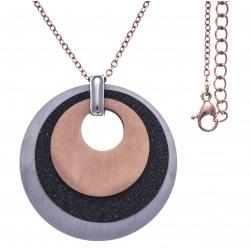Collier acier 3 tons - rosé,  noir satiné et acier - 3 ronds - diamètre 3,5cm - 45+5cm