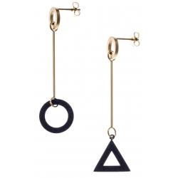 Boucles d'oreilles acier 2 tons - doré et noir satiné - rond et triangle dépareillés - hauteur 6cm