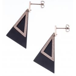 Boucles d'oreilles acier 2 tons - rosé  satiné et noir - triangles - hauteur 4,5cm