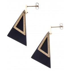 Boucles d'oreilles acier 2 tons - doré satiné et noir - triangles - hauteur 4,5cm