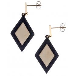 Boucles d'oreilles acier 2 tons - doré et noir satiné - losanges - hauteur 4,5cm