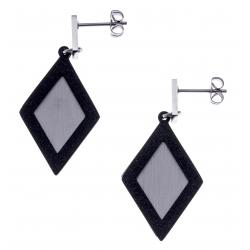 Boucles d'oreilles acier 2 tons - aciet et noir satiné - losanges - hauteur 4,5cm