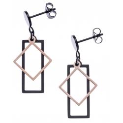 Boucles d'oreilles acier 2 tons - rosé et noir - rectangle et losange - hauteur 2,5cm