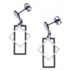 Boucles d'oreilles acier 2 tons - acier et noir - rectangle et losange - hauteur 2,5cm