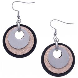 Boucles d'oreille acier 3 tons - acier,  rose satiné et noir - 3 ronds - diamètre 3cm