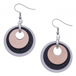 Boucles d'oreille acier 3 tons - rosé,  noir satiné et acier - 3 ronds - diamètre 3cm