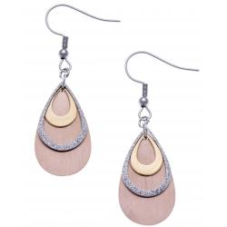 Boucles d'oreille acier 3 tons - doré, acier satiné et rosé - 3 gouttes - hauteur 2,5cm
