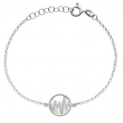 Bracelet argent rhodié 2,5g - nacre blanche - éclair - diamètre 14mm - longueur 17+3cm