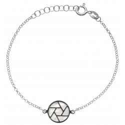 Bracelet argent rhodié 2,5g - nacre blanche - diamètre 14mm - longueur 17+3cm