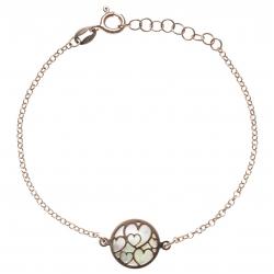 Bracelet argent rosé 2,6g - nacre blanche - cœurs - diamètre 14mm - longueur 17+3cm