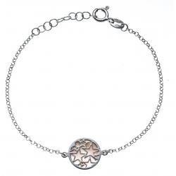 Bracelet argent rhodié 2,5g - nacre rose - étoiles - diamètre 14mm - longueur 17+3cm