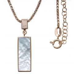 Collier argent rhodié rosé 5,8g - nacre blanche - pendentif rosé plaqué 1 micron - 45+5cm