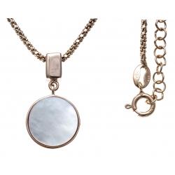 Collier argent rhodié rosé 5,3g - nacre blanche - pendentif rosé plaqué 1 micron - 45+5cm