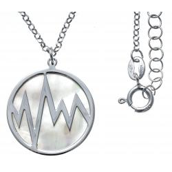 Collier argent rhodié 5,3g - nacre blanche - éclair - diamètre 22mm - longueur 40+5cm