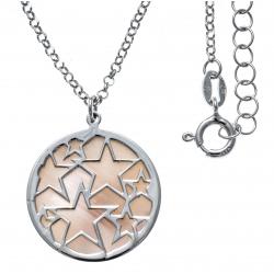 Collier argent rhodié 5,3g - nacre rose - étoiles - diamètre 22mm - longueur 40+5cm