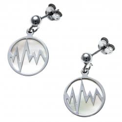 Boucles d'oreille argent rhodié 2,8g  - nacre blanche - éclair - diamètre 14mm