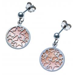 Boucles d'oreille argent rhodié 2,8g  - nacre rose - étoiles - diamètre 14mm