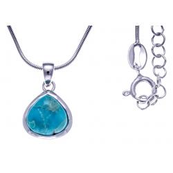 Collier argent rhodié 4,7g - turquoise - 45+5cm