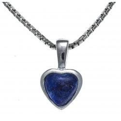Collier argent rhodié 3,1g - lapis lazuli - 40+5cm