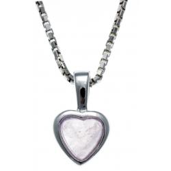 Collier argent rhodié 3,1g -  quartz rose - 40+5cm