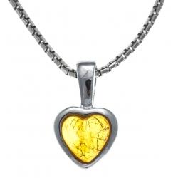 Collier argent rhodié 3,1g -  ambre - 40+5cm