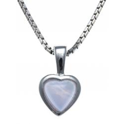 Collier argent rhodié 3,1g -  agate blue lace - 40+5cm