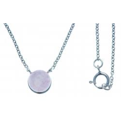 Collier argent rhodié 1,8g - quartztite teinté rose - 42+3cm