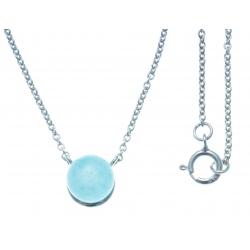 Collier argent rhodié 1,8g - quartztite teinté bleu - 42+3cm
