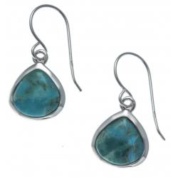 Boucles d'oreille argent rhodié 2,2g - turquoise assemblée