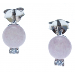 Boucles d'oreille argent rhodié 1g - quartztite rose - zircons